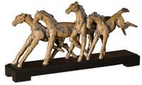 19452 D-w-o Wild Horses Sculpture 29x16