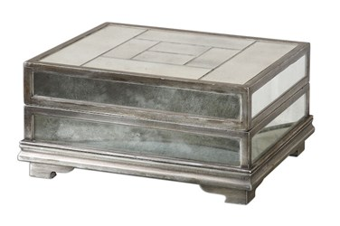 19545 Uttermost Trory Antique Silver Tiled Mirror Box CATUTT,19545,792977195451