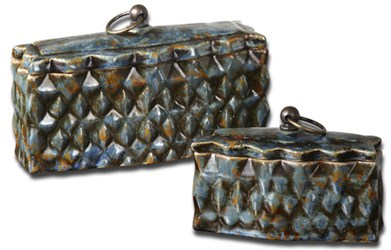 19618 Uttermost Neelab Small/large Pale Blue Ceramic Containers Set Of 2 CATUTT,19618,792977196182