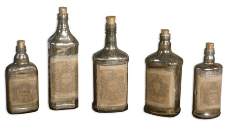 19754 Uttermost 6 To 12 In Recycled Mercury Glass Bottles Set Of 5 CATUTT,19754,792977197547