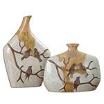 19843 D-w-o Pajaro Vases S/2 Ceramic 9x14