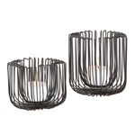 19974 D-w-o Uttermost Flare Black Wire Candleholders S/2