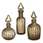 19141 D-w-o Uttermost Kaho Antique Silver Glass Perfume Bottles Set Of 3 CATUTT,19141,792977191415
