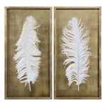 04057 Uttermost 17 X 34 White Feathers S/2 Mirror & Accessories